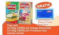 Promo Harga NESTLE CERELAC NESTLE CERELAC Bubur Cerelac Ekonomis 3x120gr / Cerelac Premium 2x120gr  - Indomaret
