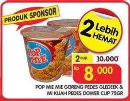 Promo Harga INDOMIE POP MIE POP MIE Dower & Goreng Pedes Gledeek  - Superindo
