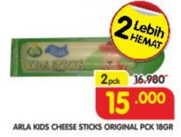 Promo Harga ARLA Kids Sticks Cheese Original per 2 pcs 18 gr - Superindo