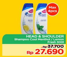 Promo Harga HEAD & SHOULDERS Shampoo Cool Menthol, Lemon Fresh 300 ml - TIP TOP