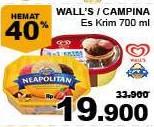 Promo Harga WALLS Walls / Campina Es Krim 700ml  - Giant