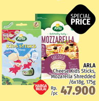 Promo Harga ARLA Arla Cheese Kids Sticks, Mozarella Shredded  - LotteMart