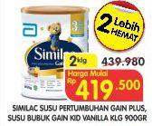 Promo Harga SIMILAC Gain Plus 3 Vanilla per 2 kaleng 900 gr - Superindo