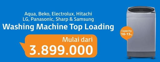 Promo Harga SAMSUNG AQUA/LG/PANASONIC/SHARP/SAMSUNG/BEKO/HITACHI/ELECTROLUX Washing Machine Top Loading  - Electronic City