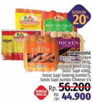 Promo Harga FARMHOUSE Farmhouse Premium Chicken Sausage, Smoked Beef, Sosis Sapi, Sosis Sapi Goreng Jumbo  - LotteMart