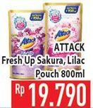 Promo Harga ATTACK Fresh Up Softener Sakura, Dazzling Lilac 800 ml - Hypermart