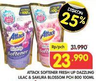 Promo Harga ATTACK Fresh Up Softener Dazzling Lilac, Sakura Blossom 800 ml - Superindo