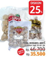 Promo Harga PRIMA Prima, Bernardi, Abbys Bakso Sapi  - LotteMart
