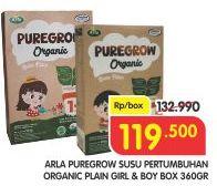 Promo Harga ARLA Puregrow Organic 1+ Boys, Girls 360 gr - Superindo