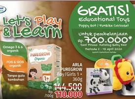 Promo Harga ARLA Puregrow Organic 1+ Boys, Girls 360 gr - LotteMart