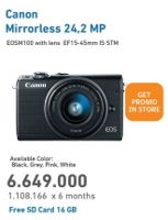 Promo Harga CANON EOS M100 Mirrorless Digital Camera  - Electronic City