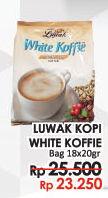 Promo Harga LUWAK White Koffie per 18 sachet 20 gr - LotteMart