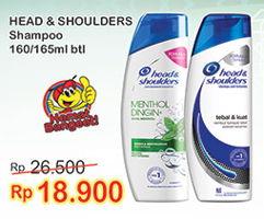 Promo Harga HEAD & SHOULDERS Shampoo 160/165ml  - Indomaret
