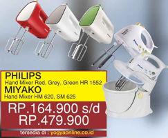 Promo Harga PHILIPS PHILIPS Hand MIxer HR 1552 Red/Grey/Green / MIYAKO Hand Mixer HM 620/SM 625  - Yogya