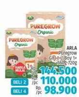 Promo Harga ARLA Puregrow Organic 1+ Girls, Boys 720 gr - LotteMart