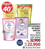 Promo Harga JOHNSONS JOHNSONS/ZWITSAL/CUSSONS/MY BABY Baby Body Wash 400 - 500ml  - LotteMart