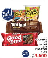 Promo Harga GOOD TIME GOOD TIME 72gr/TIM TAM 81gr/NYAM NYAM 18 - 25gr  - LotteMart