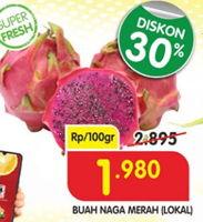 Promo Harga Buah Naga Merah Lokal per 100 gr - Superindo