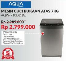 Promo Harga AQUA AQW-710DD   Mesin Cuci Fuzzy Logic Front Load 7kg  - Courts