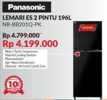 PANASONIC NR-BB201Q-PK   Kulkas 2 Pintu 196ltr  Diskon 13%, Harga Promo Rp4.199.000, Harga Normal Rp4.799.000