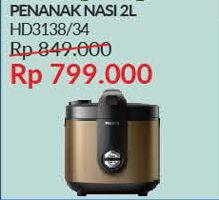 PHILIPS HD-3134 Rice Cooker  Diskon 6%, Harga Promo Rp799.000, Harga Normal Rp849.000