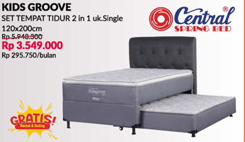 Promo Harga CENTRAL SPRING BED Kids Groove 2 in 1 Bed Set 120x200cm  - Courts