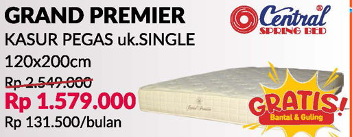 Promo Harga CENTRAL SPRING BED Grand Premier Matras Spring 120x200cm  - Courts