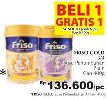 Promo Harga FRISO Gold 3 Susu Pertumbuhan Plain 400 gr - Giant