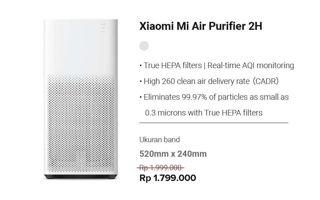 Promo Harga XIAOMI Mi Air Purifier 2H  - Erafone
