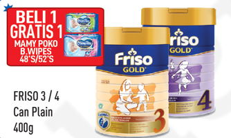 Promo Harga FRISO Gold 3/4 Susu Pertumbuhan Plain 400 gr - Hypermart