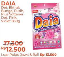 Promo Harga DAIA Deterjen Bubuk Bunga, Putih, Plus Softener, Pink, Violet 850 gr - Alfamart