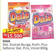 Promo Harga DAIA Deterjen Bubuk Ekstrak Bunga, Putih, Plus Softener, Pink, Violet 850 gr - Alfamart