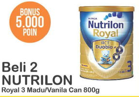 Promo Harga NUTRILON Royal 3 Susu Pertumbuhan Madu, Vanilla per 2 kaleng 800 gr - Alfamart