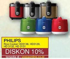 Promo Harga PHILIPS Rice Cooker HD 3138, HD 3129, HD 3132, HD 3131  - Yogya
