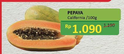 Pepaya California per 100 gr Diskon 8%, Harga Promo Rp1.090, Harga Normal Rp1.190