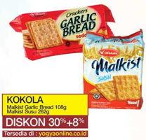Promo Harga KOKOLA Crackers Garlic Bread 108gr / Malkist Susu 262gr  - Yogya