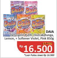 Promo Harga DAIA Deterjen Bubuk Putih, Ekstrak Bunga, Lemon, Plus Softener, Violet, Pink 850 gr - Alfamidi