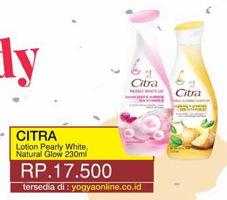 Promo Harga CITRA Hand Body Lotion Pearly White UV, Natural Glowing White 230 ml - Yogya