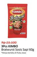KIMBO Bratwurst Sosis Sapi per 3 bungkus 60 gr Diskon 35%, Harga Promo Rp15.000, Harga Normal Rp23.100, Hanya Berlaku di Pulau Jawa. Apabila disertai belanja Rp50.000 (Kec. pembelian susu bayi di bawah 1 tahun, rokok, pulsa, minyak goreng, dan produk promo TTM yg sedang berjalan). Tdk berlaku kelipatam