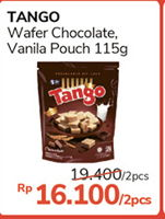 TANGO Wafer Chocolate, Vanilla per 2 pouch 115 gr Diskon 17%, Harga Promo Rp16.100, Harga Normal Rp19.400, Syarat dan ketentuan berlaku