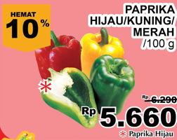 Promo Harga Paprika Merah, Kuning, Hijau per 100 gr - Giant
