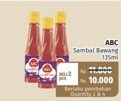 Promo Harga ABC Sambal Bawang Pedas per 2 botol 135 ml - Lotte Grosir