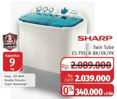 Promo Harga SHARP ES-T95CR-PK/BK/VK   Washing Machine Super Aquamagic 9kg  - Lotte Grosir