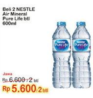 Promo Harga NESTLE Pure Life Air Mineral per 2 botol 600 ml - Indomaret