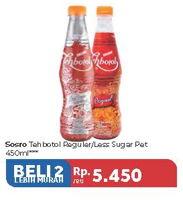 Promo Harga SOSRO Teh Botol Reguler, Less Sugar per 2 botol 450 ml - Carrefour