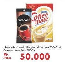 Promo Harga NESCAFE NESCAFE Classic 100gr + NESTLE Coffeemate 450gr  - Carrefour