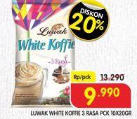 Promo Harga LUWAK White Koffie 3 Rasa per 10 sachet 20 gr - Superindo