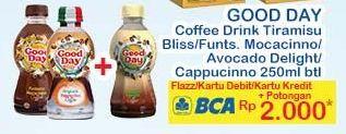 Promo Harga Good Day Coffee Drink Tiramisu Funtastic Mocacinno Avocado Delight Cappucino 250 Ml Indomaret Hemat Id