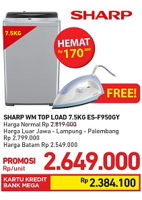 Promo Harga SHARP ES-F950P-GY | Washing Machine  - Carrefour