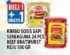 Promo Harga KIMBO KIMBO Sosis Sapi Serbaguna/Bratwurst 500gr  - Hypermart
